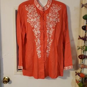 Talbots embroidered top